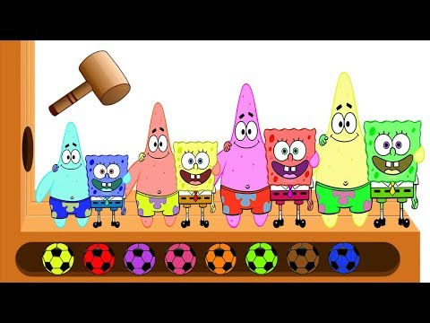 Learn Colors with Spongebob WOODEN FACE HAMMER XYLOPHONE Spongebob Squarepants Soccer Balls for Kids
