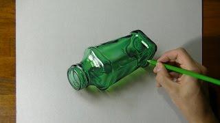Drawing a green bottle - 3D Art