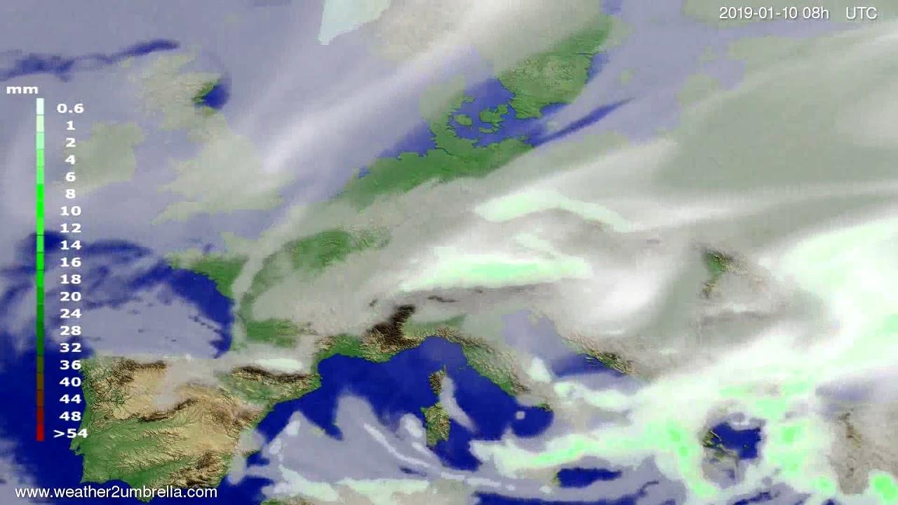 Precipitation forecast Europe 2019-01-07