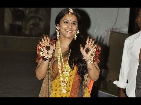 Bollywoodgupshup - A day after her sangeet, bride-to-be Vidya Balan celebrated her mehendi function in Mumbai. The actress wore a mustard Sabyasachi sari draped in Bengali styl...