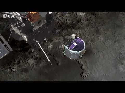 touch - Visualisation of the deployment of the Philae lander from Rosetta at comet 67P/Churyumov-Gerasimenko in November 2014. Rosetta will come to within 2.5 km of ...