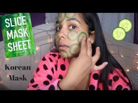 Cucumber Slice Face Mask! Korean Face Mask // Kayla Paige (видео)