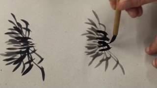 Fleur de chrysanthème en sumi-e