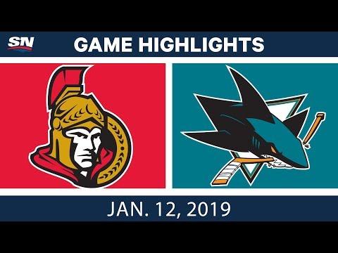 NHL Highlights | Senators vs. Sharks - Jan. 12, 2019