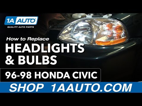 How To Install Remove Change Headlights and Bulb 1996-98 Honda Civic
