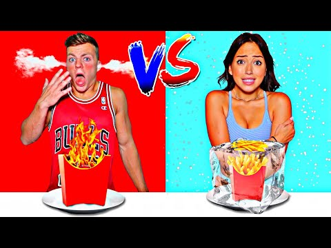 EATING ONLY HOT VS COLD FOOD FOR 24 HOURS CHALLENGE!