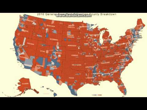 Complete America voting map county & state. Trump red / Clinton blue 2016 popular vote