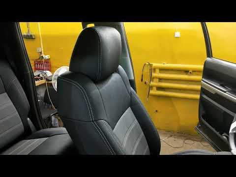 """Чехлы на Toyota Tundra II рестайлинг, серии """"Aurora"""", серый центр - серая строчка"""