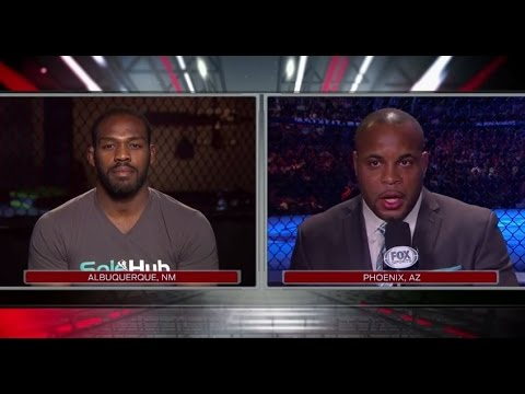 182 - No. 1 contender Daniel Cormier and UFC light heavyweight champion Jon Jones spoke to UFC color commentator Joe Rogan during Fight Night Phoenix on FOX on Dec. 13.