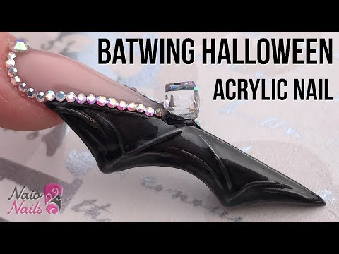 Bat Wing Shaped Acrylic Nail with Bling - Halloween Nail Design