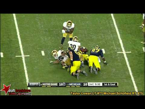 Taylor Lewan vs Notre Dame 2013 video.