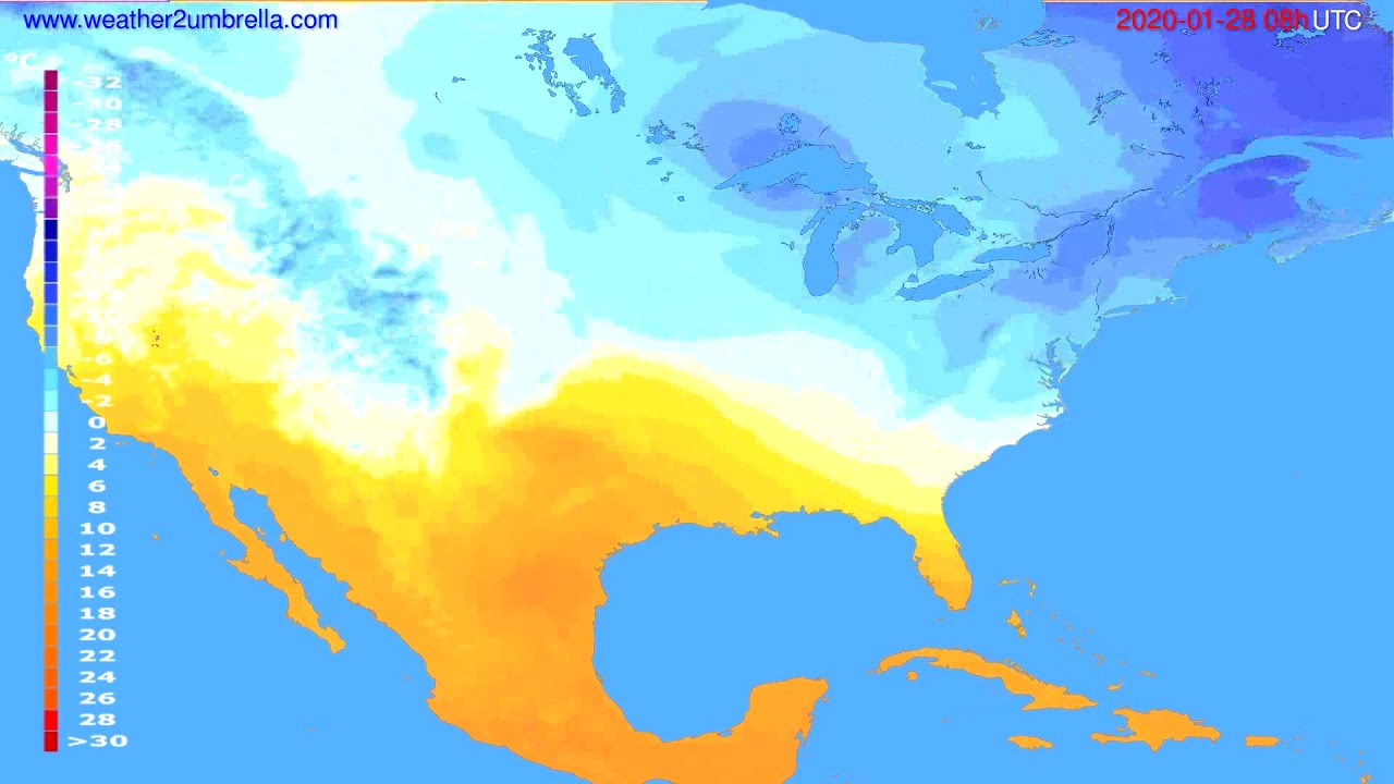 Temperature forecast USA & Canada // modelrun: 12h UTC 2020-01-27