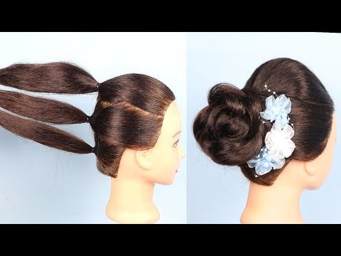 New hairstyle - Rose Bun hairstyles with trick  wedding hairstyle  hair style girl  easy hairstyles  hairstyles