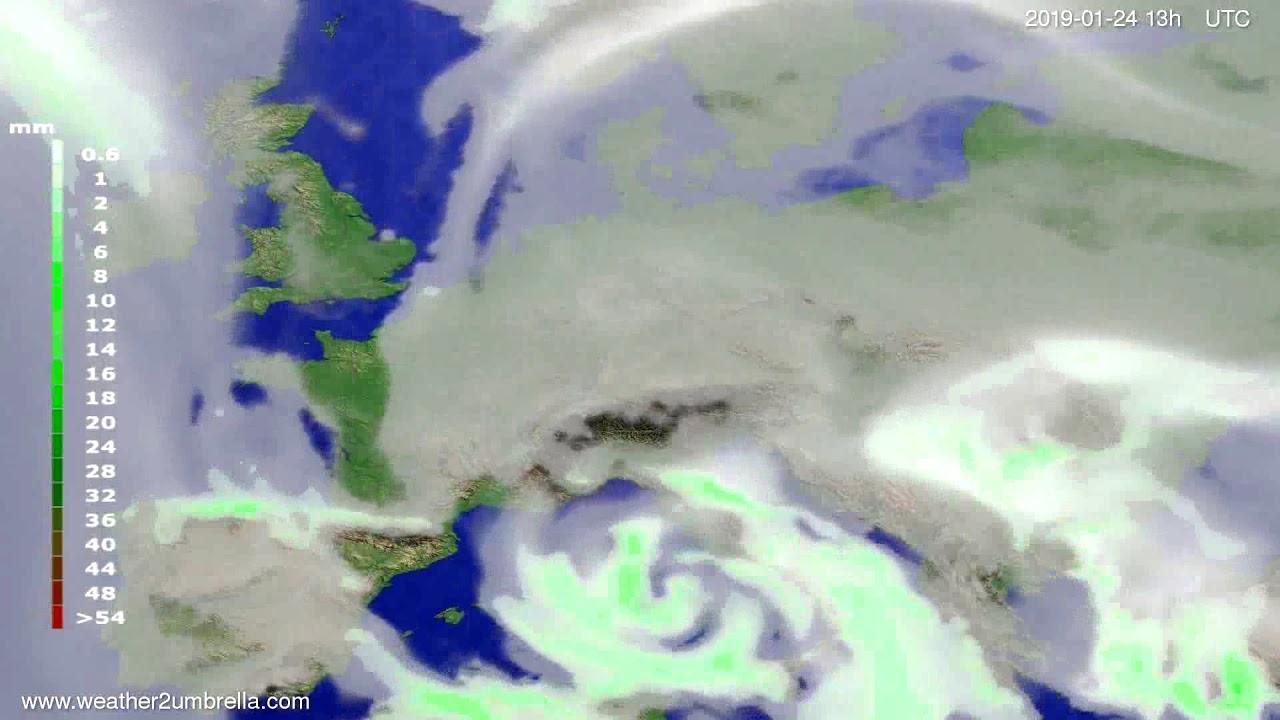 Precipitation forecast Europe 2019-01-21