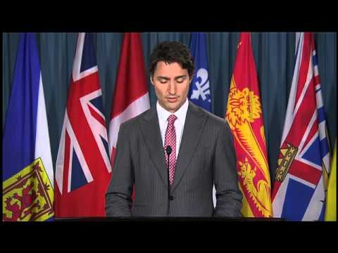 Justin - Addressing the nation Wednesday night, Liberal leader Justin Trudeau send a message of support to the family of the the Canadian Forces member killed in a shooting in Ottawa Wednesday, and...