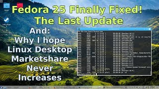 Finally, the last update to my Fedora 25 screen corruption issue. It's finally fixed!  Also, let's talk about my reason for hoping the Linux desktop share never increases.If you enjoy this video, please take a moment to subscribe and share! If you really enjoyed it, give it a like and drop me a comment!Are you interested in helping me grow FastGadgets? Consider visiting my Patreon page and throwing a dollar my way!https://www.patreon.com/FastGadgetsFor more FastGadgets:http://fastgadgets.infoSocial Media:Facebook: https://facebook.com/FastGadgetsChannelTwitter: https://twitter.com/FastGadgetsTechYouTube: https://www.youtube.com/FastGadgetstechVid.me: https://vid.me/FastGadgets