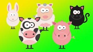 boerderijdieren voor kinderen, hond, schapen, eend, varken, koe, konijn, kip, haan, kat, paard, trac