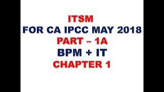 ITSM - IT FOR CA IPCC MAY 2018 PART 1