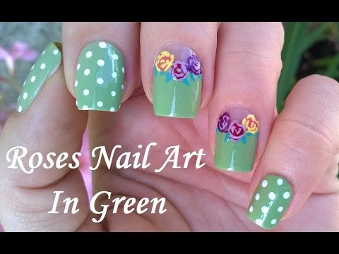 romantic roses nail art - pastel polka dot & flower