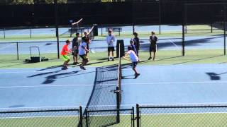 Coach Grant at Junior Tennis Clinic Conducts Foot Drill