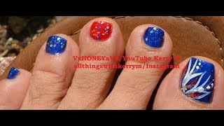 Nail Art step by step instruction: Glitzy Patriotic Toe Nail Design. This is the first time filming my actual feet. Let me know if you wish to continue to see toenail designs filmed this way.Catch me on the following social media outlets: https://www.facebook.com/VxHONEYxV8/https://www.pinterest.com/vxhoneyxv8/ https://twitter.com/VxHONEYxV8https://www.instagram.com/allthingswithkerrym