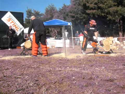 Mike Slingerland on the right with a super chainsaw...