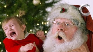 Kids Getting Their Picture Taken with Santa (a Cut Christmas Card) | Cut