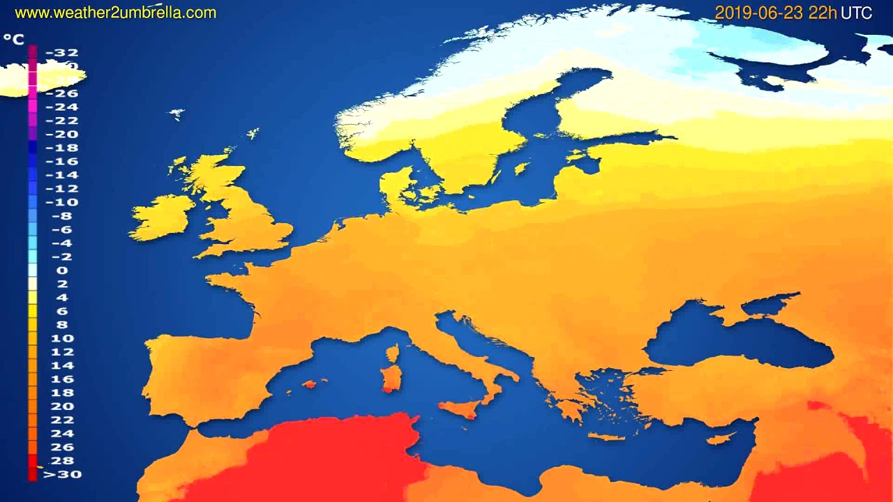 Temperature forecast Europe // modelrun: 00h UTC 2019-06-21
