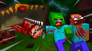 STEVE And BABY Zombie ESCAPE Dinosaur ATTACK - MINECRAFT STEVE AND BABY ZOMBIE [116]