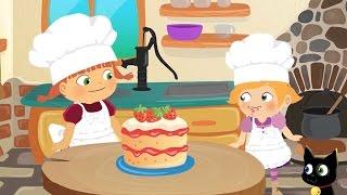 La Brujita Tatty y Lilly Hacen un Pastel de Fresas Dibujos Animados
