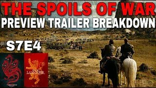 Now that Game of Thrones Season 7 Episode 3 is over its time to take a closer look at the Game of Thrones Season 7 Episode 4 Preview Trailer and see what may take place in the upcoming episode The Spoils of War. After Jaime Lannister sacked Highgarden he will be making his way back to King's Landing with all the Tyrell's gold but Daenerys Targaryen and her Dothraki Hoarde will have something to say about this. Daenerys Targaryen will burn them all but not before Jaime Lannister tries to kill her Dragon. Bronn will save Jaime Lannister's life. Arya Stark arrives in Winterfell. There will be another Stark Reunion. Littlefinger has the Valyrian Steel Dagger. Cersei meets with the Iron Bank. Jon Snow mines for Dragon glass and so much more! Comment down below with your questions and thoughts. Thanks!Images from Game of Thrones are property of their creators, used here under fair use. Music: Led Zeppelin - No QuarterSupport the channel on Patreon here! https://www.patreon.com/TalkingThronesFollow me on Twitter here! https://mobile.twitter.com/Talking_Thrones