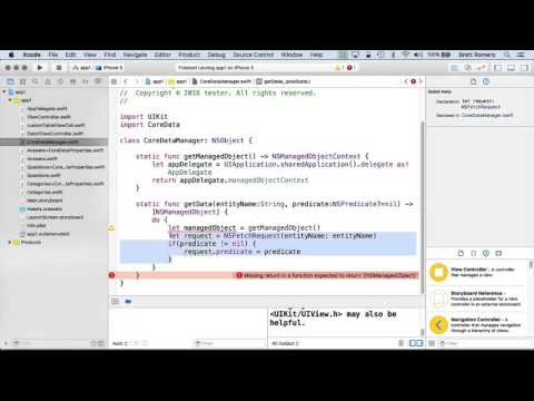 Learn To Build Your First Professional iOS App - Core Data Manager Class Part A