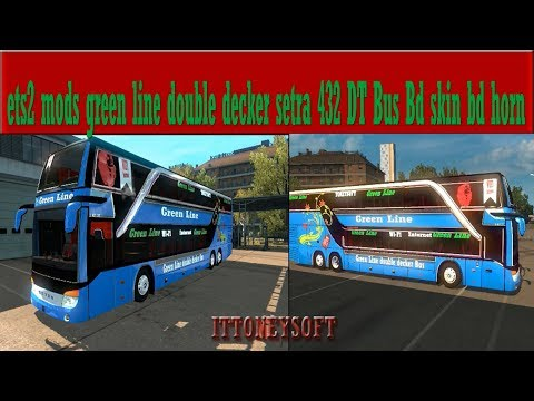 Green line double decker Bus Mercedes Bd skin and mods v1.0