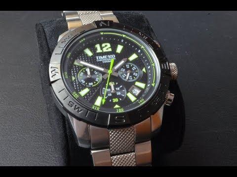 Time100 Orologio sportivo argento e verde 173fbfc06bb