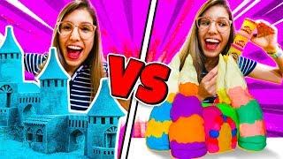 Play doh - CASTELO DE AREIA CINÉTICA VS CASTELO DE MASSINHA PLAY-DOH!