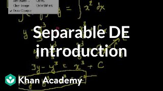 Old separable differential equations introduction | Khan Academy