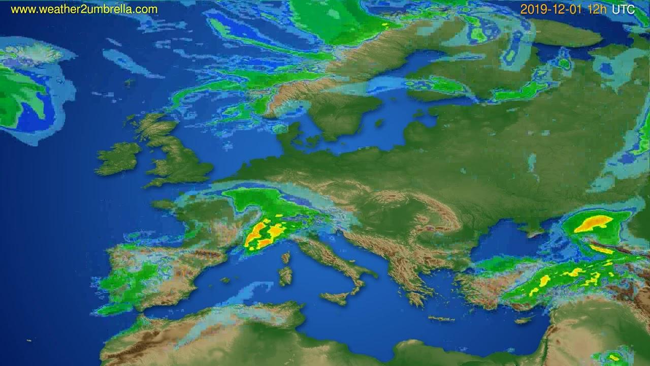Radar forecast Europe // modelrun: 00h UTC 2019-12-01