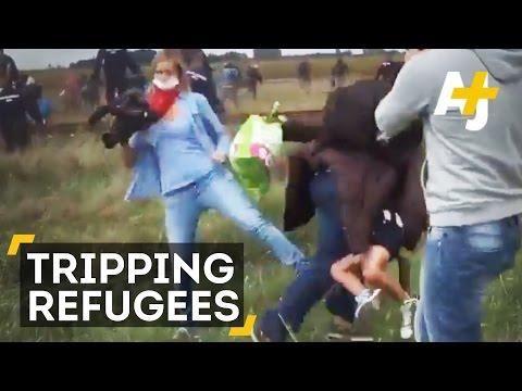 天下間竟有如此無良攝記!為求拍攝絆倒逃亡難民!