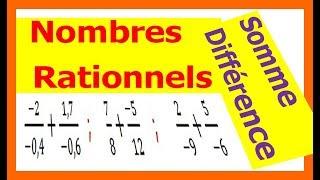 Maths 4ème - Les nombres rationnels Somme et Différence Exercice 7