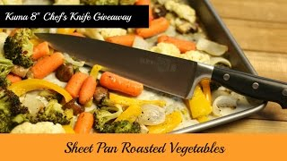 "GIVEAWAY! Join Amy as she makes Sheet Pan Roasted Vegetables using the Kuma 8"" Chef's Knife. Roasting on a sheet pan is an easy and delicious way to prepare vegetables. The Kuma 8"" Chef's Knife is sharp and has a nice feel in your hand.  Amy puts this product to the test by chopping, mincing, and slicing vegetables and then she roasts them with a little garlic & thyme infused olive oil.  If you are interested in entering the giveaway, please subscribe to my channel and leave a comment below saying that you want to enter the giveaway. Due to the cost of shipping, the giveaway is limited to those in the U.S. The last day to enter is Saturday, March 18, 2017 at 11:59 p.m. eastern time. The winner must provide their address for shipping within 48 hours via the email or PM associated with their YouTube account. Your address will be given to Kuma so the knife can be sent you directly from the company. If the winner does not provide their address by the deadline, a new winner will be chosen. The winner will be chosen via randomizer and will be announced within a few days after the closing of the giveaway. Enjoy! Please share! I received this product free of charge in exchange for my honest review.Kuma 8"" Chef' Knife 20% off coupon: http://bit.ly/amy-kumaKuma 8"" Chef's Knife:http://amzn.to/2m8tPiLAmy Learns to Cook is all about learning to make simple, tasty food from fresh ingredients.  One year ago, I made a commitment to stop eating processed convenience foods.  I decided to learn to cook ""real"" food. Join me!  Let's learn to cook together! Enjoy! Please share! Please SUBSCRIBE to my channel, LIKE, and leave a COMMENT.Please visit my website: www.amylearnstocook.comAny links in this description, including Amazon, are affiliate links.Life of Riley by Kevin MacLeod is licensed under a Creative Commons Attribution license (https://creativecommons.org/licenses/by/4.0/) Source: http://incompetech.com/music/royalty-free/index.html?isrc=USUAN1400054 Artist: http://incompetech.com/ I received this product free of charge in exchange for my honest review."