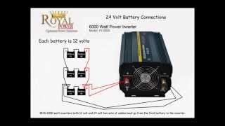 """http://www.powerinverters.com/allproducts It may be advisable to operate the inverter from a bank of 12 Volt batteries of the same type in a """"parallel"""" configuration. Two such batteries will generate twice the amp/hours of a single battery; three batteries will generate three times the amp/hours, and so on. This will lengthen the time before your batteries will need to be recharged, giving you a longer time that you can run your appliances.You can also connect 6 Volt batteries together in """"series"""" configuration to double the voltage to 12 volts. Note that 6 Volt batteries must be connected in pairs."""