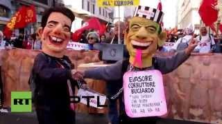 Miles en Roma protestan contra la reforma laboral