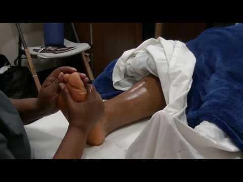 Reflexology to a Client's Feet