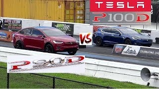680 HP Tesla S P100D vs 536 HP Tesla X P90D - Quiet 1/4 Mile Drag Race- Road Test TV by Road Test TV