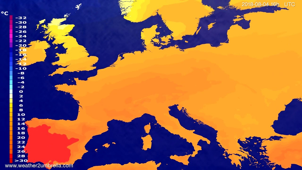 Temperature forecast Europe 2018-08-01