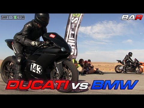 ducati 1098 vs bmw s1000rr - drag race