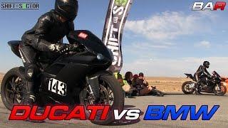 9. Ducati 1098 vs BMW S1000RR - 1/2 Mile Top Speed!