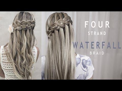 Four (4) Strand Waterfall Braid | Prom and Wedding Hairstyle | DIY tutorial
