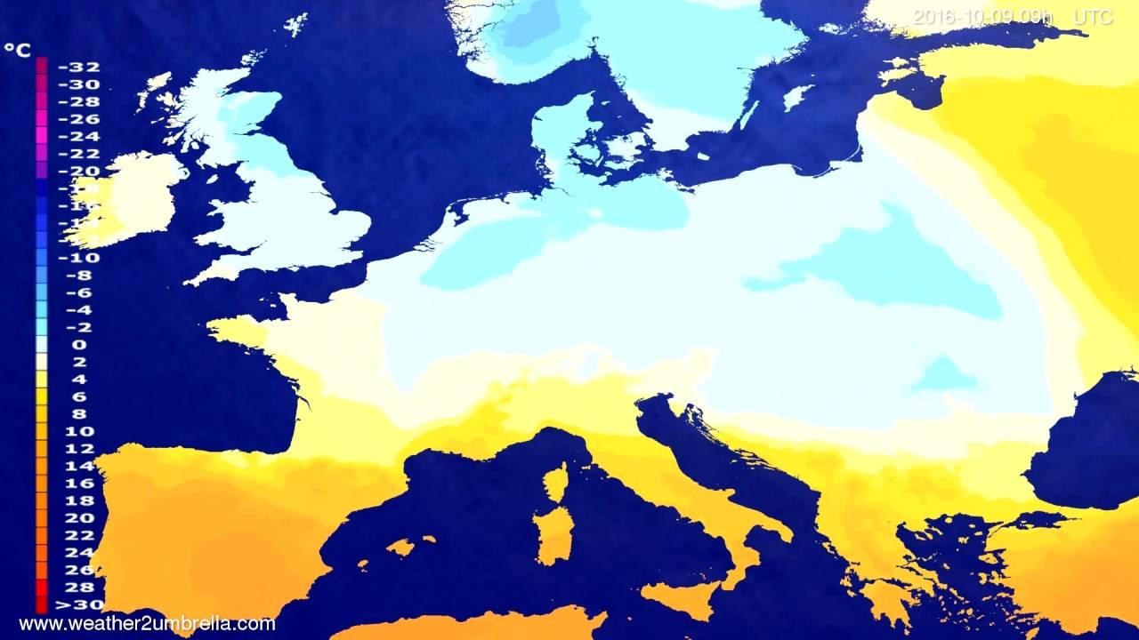 Temperature forecast Europe 2016-10-07