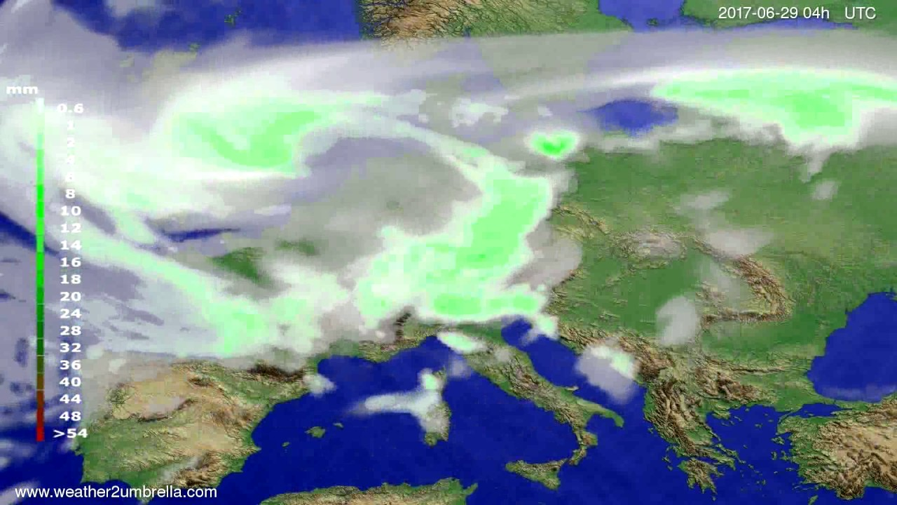 Precipitation forecast Europe 2017-06-25
